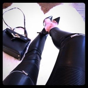 Zara Leather Biker Moto zipper pants